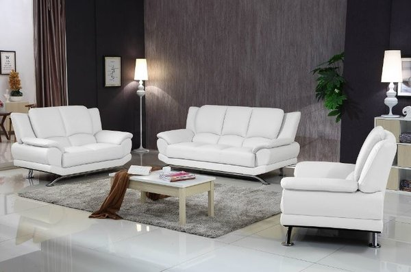 Milano Modern Leather Sofa Set White