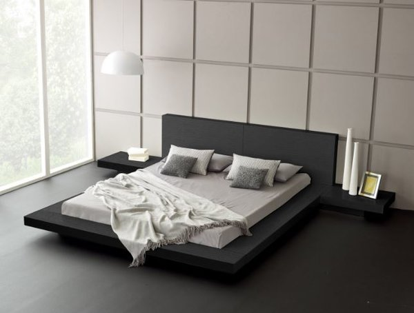 Fujian Modern Platform Bed Ash Black Modern Bedroom