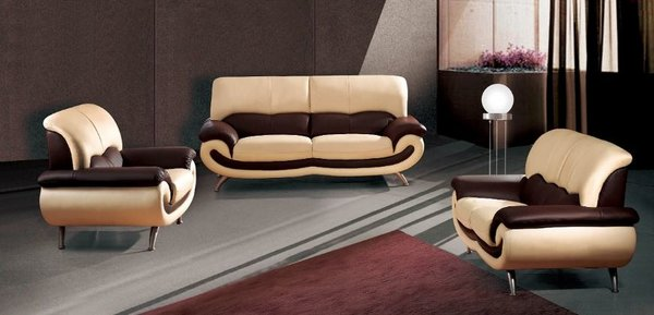 Dallas Modern Leather Sofa Set CreamMocha Modern Furniture By