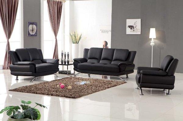 Milano Modern Leather Sofa Set (Black)