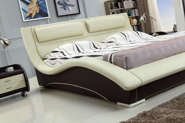 Napoli Platform Bed Cream Over Mocha Modern Bedroom