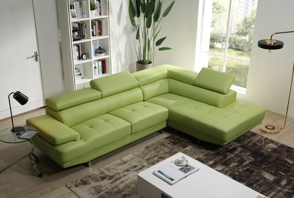 Mia Leather Sectional Apple Green Modern Bedroom
