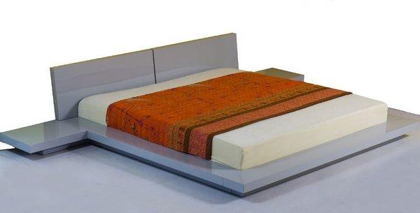 Fujian Platform Bed Glossy Grey Modern Bedroom Furniture Set New York Houston Sacramento
