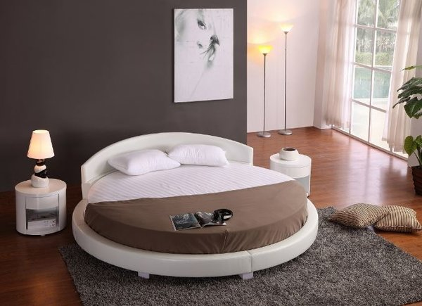 Panda Round Bed White 87 Diameter Modern Bedroom Furniture