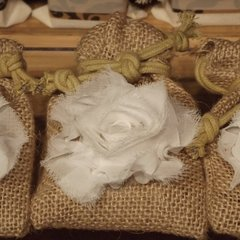 12 Burlap Bag Favor with Shabby Rose
