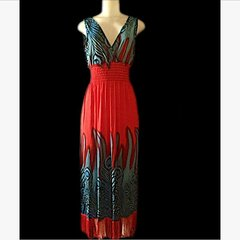 Hot Summer Red Fringed Maxi Dress