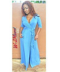 1st Lady Blue Cross Over Maxi Dress