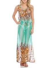 D Maxi Cover Up in Aqua and White - SPIAGGIA DOLCE