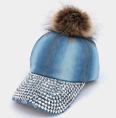 Fur Pom Pom Denim Cap With Crystal Stud Bling