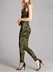 Camo Print Lace Up Jumpsuit