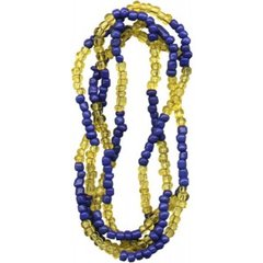 Santeria Bead Necklace Ochosi Blue And Amber - Blessed Beads Beadz by Scorpiomvp