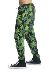 MEN'S STONER LEAF PRINTED FRENCH TERRY JOGGER PANTS