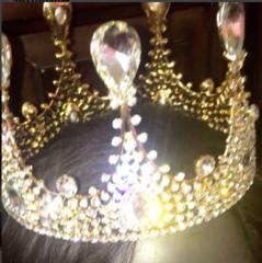 Vintage Tear Stone Imperial Gold Rhinestone Crown