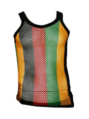 Unisex Fitted String Mesh Fishnet Rasta Black Red Green Yellow