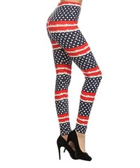 Navy & Red Distressed Flag Leggings
