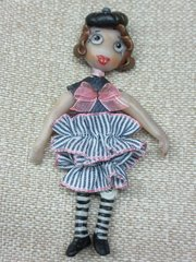Doll Brooch OOAK