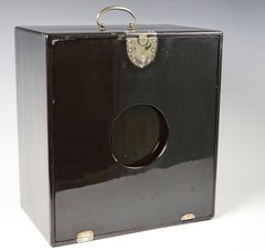 JAPANESE SUZURIBAKO - WRITING CASE - LACQUERED WOOD WITH SILVER FITTINGS