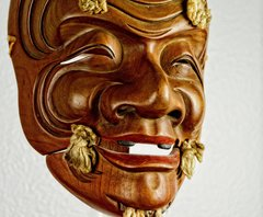 """BEAUTIFUL ANTIQUE HAND CARVED NOH THEATER  MASK  """"OKINA"""""""