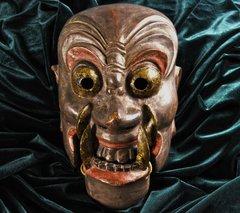 ANTIQUE  JAPANESE NASORI MASK OF BUDDIST DIVINITY FUDO