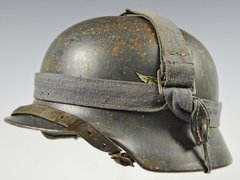 GERMAN WWII M35 LUFTWAFFE DOUBLE DECAL COMBAT HELMET WITH BREAD BAG STRAP