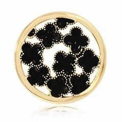 Medium Nikki Lissoni Black Flowers Coin