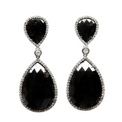 Black and White Diamond Dangle Earrings