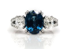 Custom Blue Sapphire and White Diamond Platinum Ring