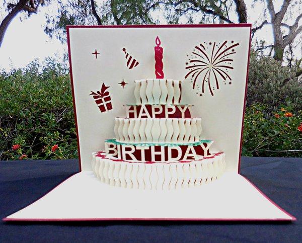 Handmade Popup 3D Half Open Happy Birthday Greeting Card – Happy Birthday Card 3d