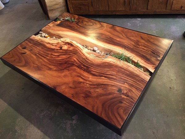 Sequoia Monkey Wood Coffee Table with Stones. Monkey wood coffee table   Sequoia Santa Fe