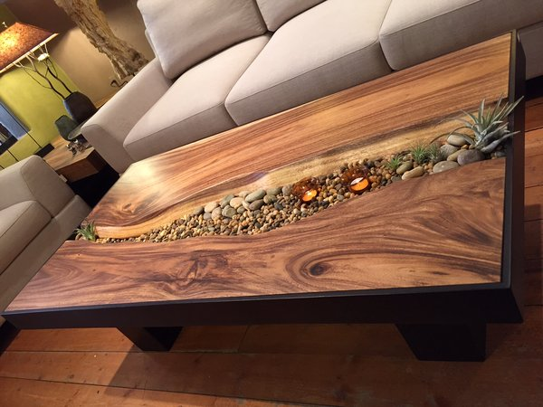 Monkey Wood Coffee Table with Stones. Earthy contemporary coffee table    Sequoia Santa Fe