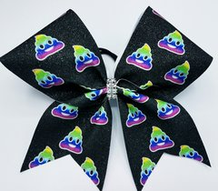 Rainbow Poop Emoji Glitter Cheer Bow