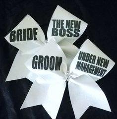 Bride & Groom Glitter Cheer Bow Set