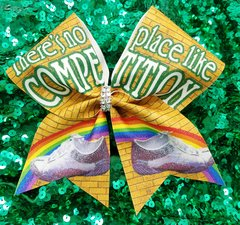 There's No Place Like Competition Glitter Cheer Bow