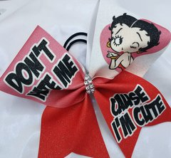 Don't Hate Me Cause I'm Cute Betty Boop Glitter Cheer Bow