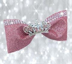 Rose Gold Glitter Rhinestone Tiara Tailless Cheer Bow