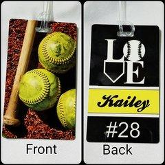 Custom Softball Love Personalized Bag Tag