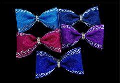 Glitter Rhinestone Scallop Tailless Cheer Bow - All Colors