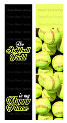 The Softball Field is my Happy Place Cheer Bow Ready to Press Sublimation Graphic