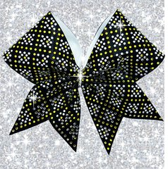Lexi Rhinestone Cheer Bow black & yellow gold