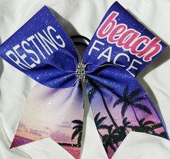 Resting Beach Face Glitter Cheer Bow