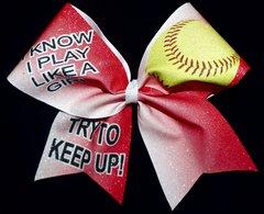 Play Like A Girl Softball Bow