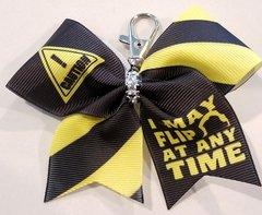 Caution I May Flip At Any Time Mini Ribbon Keychain Bow