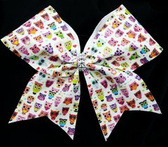 Retro Owls Glitter Cheer Bow