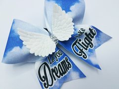 Let Your Dreams Take Flight 3D Angel Wings Glitter Cheer Bow