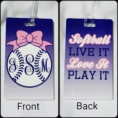 Custom Softball Monogram Personalized Bag Tag