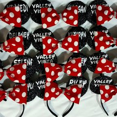 Custom Mickey Ears with Detachable Rhinestone Tailless Bow