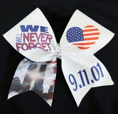 We Will Never Forget 911 Glitter Cheer Bow
