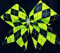 Neon Green Argyle Cheer Bow