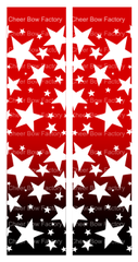 Stars Ombre Red Black Cheer Bow Ready to Press Sublimation Graphic