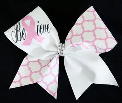 Believe Breast Cancer Awareness Cheer Bow